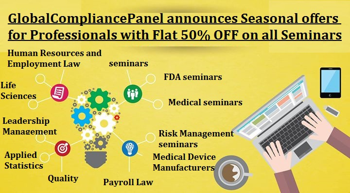 GlobalCompliancePanel announces Seasonal offers for Professionals with Flat 50% OFF on all Seminars